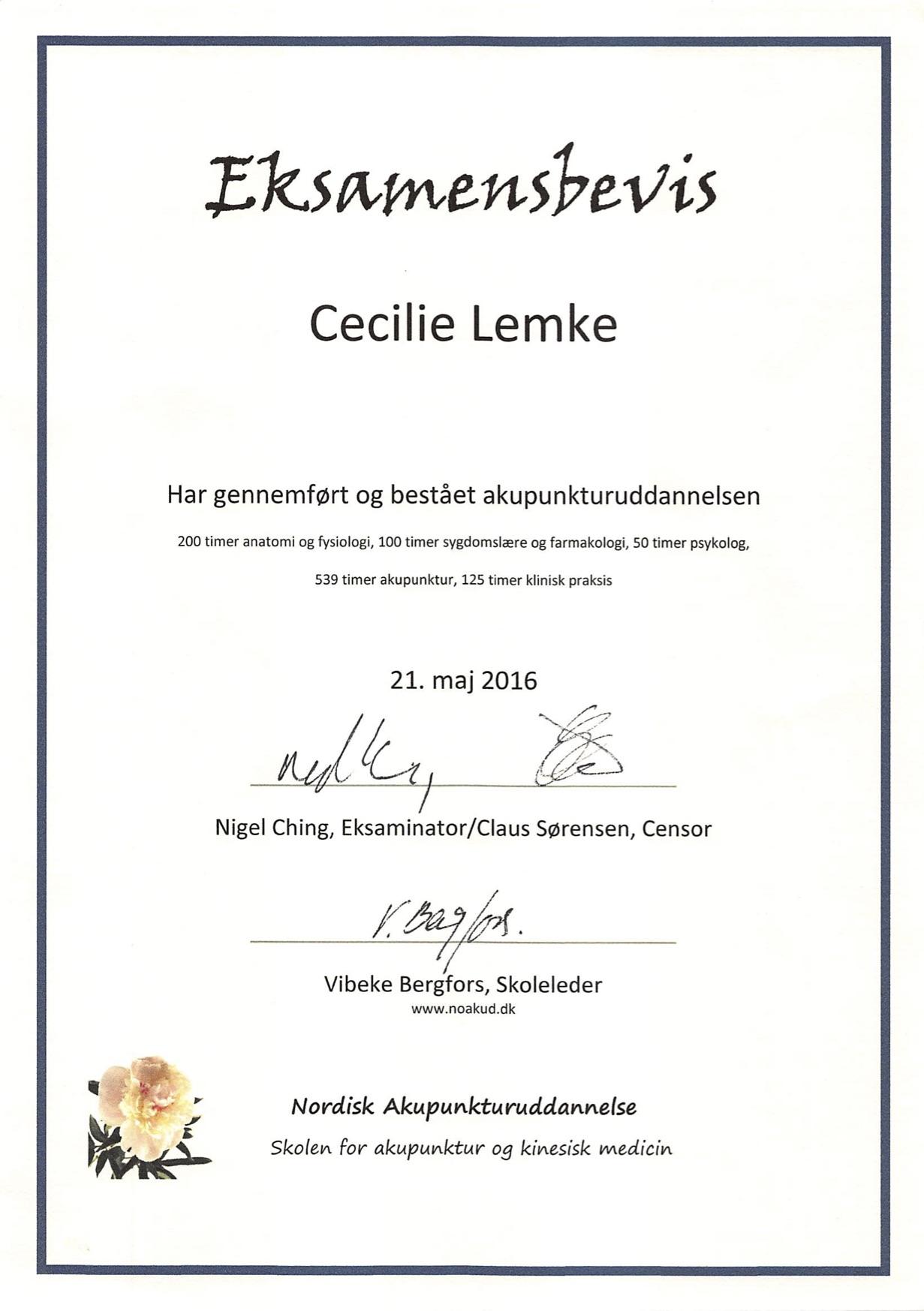 cecilie_lemke_akupunktur_examensbevis